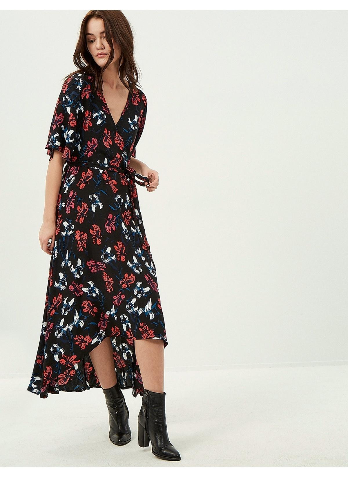 9dc1405aa70e1 Koton Kadın Uzun Çiçekli Elbise Black Desıgn   Morhipo   20053593
